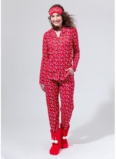 Dagi Kırmızı Gömlek Uzun Kollu Pijama Takım Kırmızı